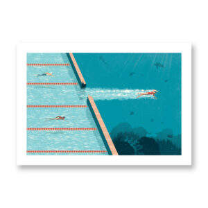 Comfort zone, Illustrazione di Davide Bonazzi. Nuotatrice che da una piscina entra in un oceano blu