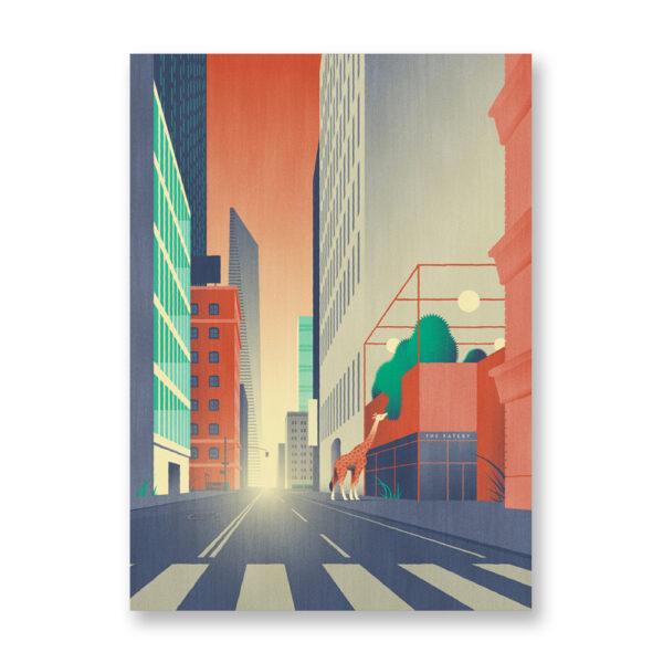 Animalier: A giraffe - illustrazione di Davide Saraceno - card 13x18 cm
