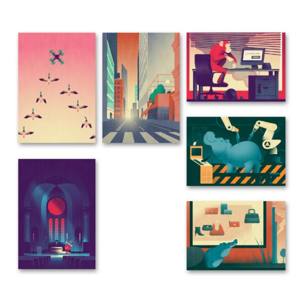 Davide Saraceno - Set di 6 cards formato 13x18 cm