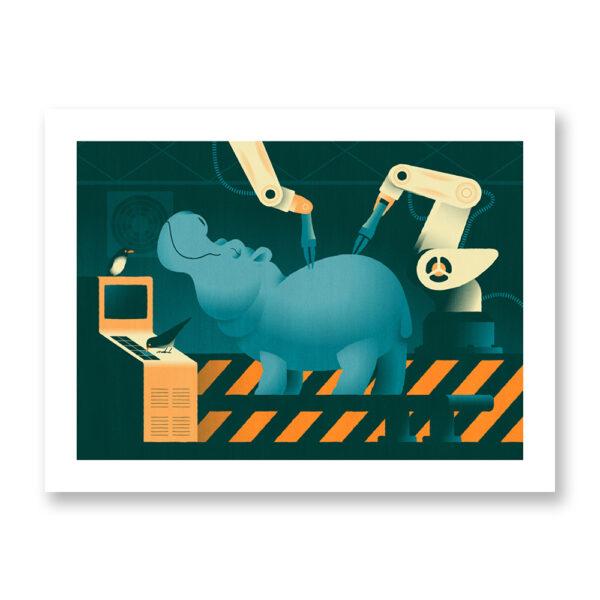 Animalier: A hippo with two oxpeckers - illustrazione di Davide Saraceno