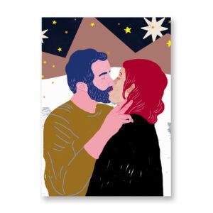 Baciami Forte #1, illustrazione di Sara Stefanini - card 13x18 cm