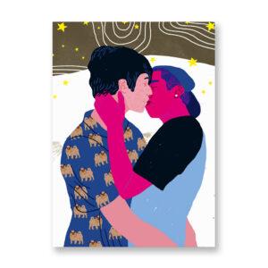 Baciami Forte #2, illustrazione di Sara Stefanini - card 13x18 cm