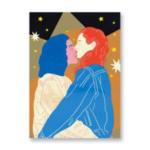 Baciami Forte #3, illustrazione di Sara Stefanini - card 13x18 cm