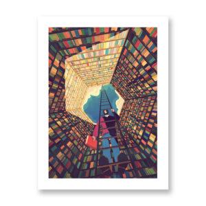 The tower of books - illustrazione di Giordano Poloni, Stampa Fine Art