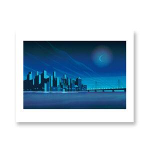 Skyline at night - illustrazione di Giordano Poloni, Stampa Fine Art