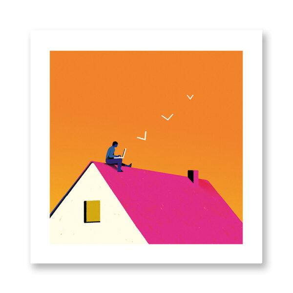 At home - illustrazione di Chiara Ghigliazza, Stampa Fine Art