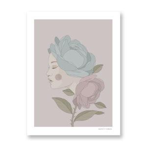 The Girl Flower - illustrazione di Maniaco D'amore, Stampa Fine Art