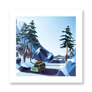 Lake trip - illustrazione di Giordano Poloni, Stampa Fine Art