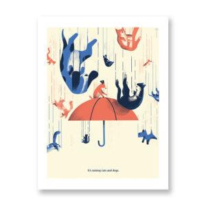 It's Raining Dogs and Cats- illustrazione di Daniele Simonelli, Stampa Fine Art