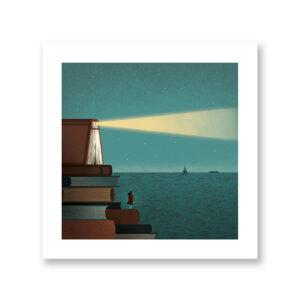 Lighthouse Book- illustrazione di Davide Bonazzi, Stampa Fine Art