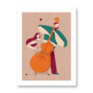 Four hands symphony - illustrazione di Federica Fabbian, Stampa Fine Art
