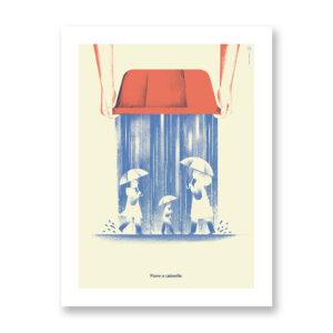 Piove a catinelle - illustrazione di Daniele Simonelli, Stampa Fine Art