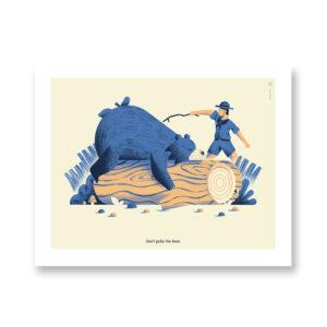Don't poke the bear - illustrazione di Daniele Simonelli, Stampa Fine Art