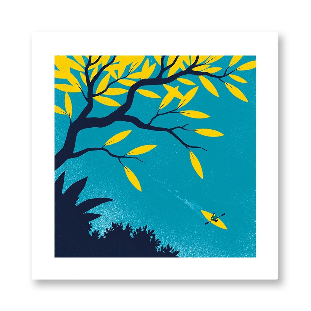 davide-bonazzi-poster-fine-art-print-stampa-home-illustrazione-illustration-gift-casa-regalo-aprile-april-internazionale-foglia-leaf-canoa-canoe