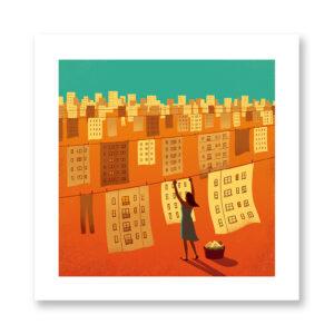 Hanging out the city - illustrazione di Davide Bonazzi, Stampa Fine Art