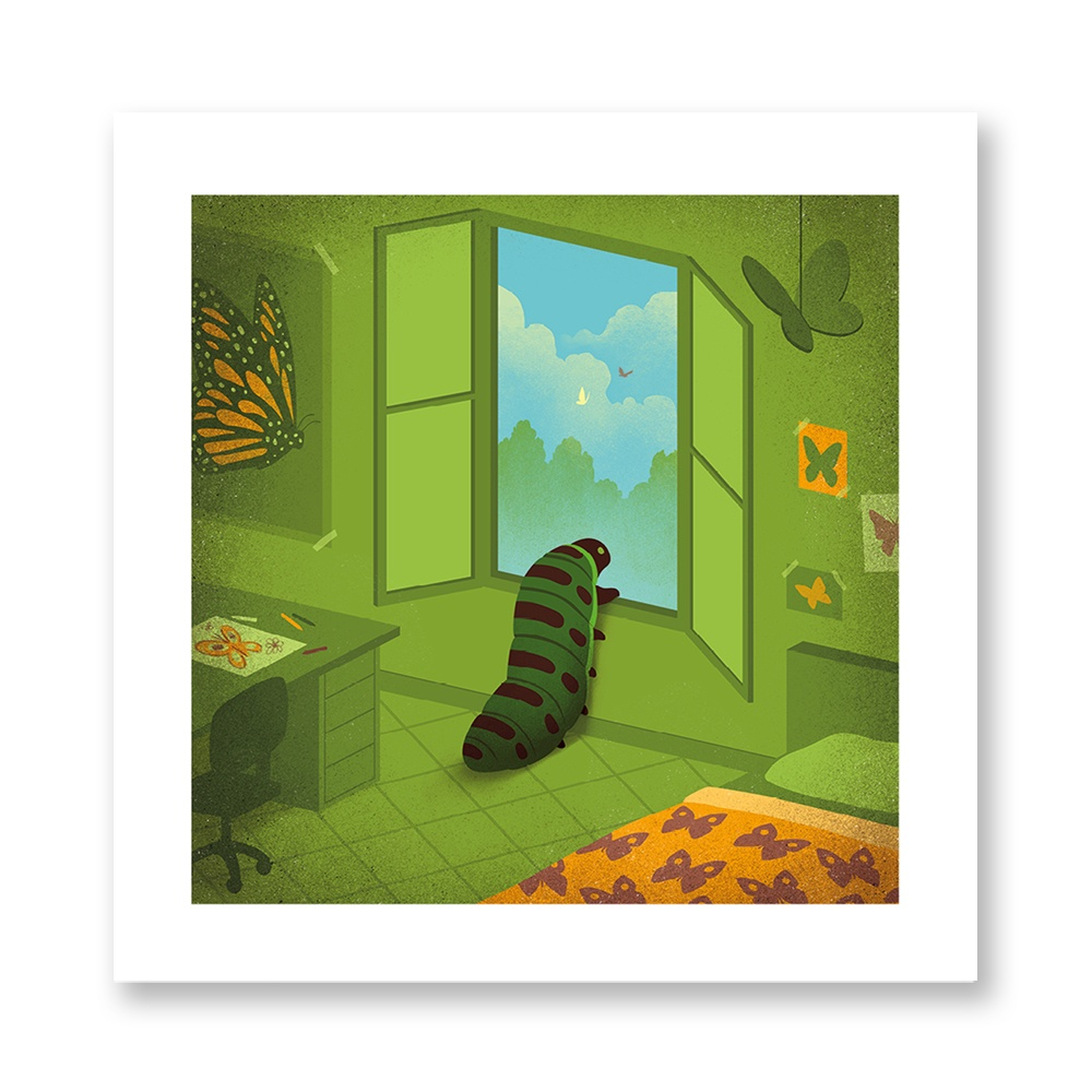 davide-bonazzi-poster-fine-art-print-stampa-home-illustrazione-illustration-gift-casa-regalo-marzo-march-internazionale-primavera-spring-caterpillar-bruco-farfalla-butterfly