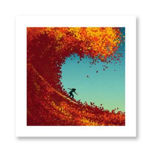 Surfing in Autumn - illustrazione di Davide Bonazzi, Stampa Fine Art