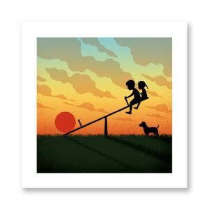 Sunset kids - illustrazione di Davide Bonazzi, Stampa Fine Art