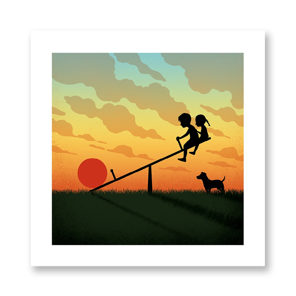 davide-bonazzi-poster-fine-art-print-stampa-home-illustrazione-illustration-gift-casa-regalo-settembre-september-internazionale-tramonto-sunset-child-play-altalena