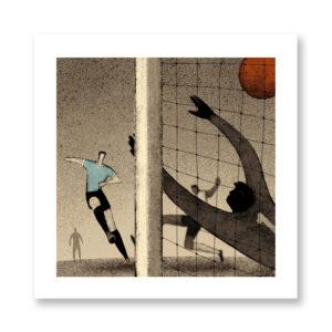 History of Football: Brazil, 1950 - illustrazione di Davide Bonazzi, Stampa Fine Art