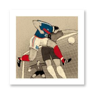 History of Football: France, 1998 - illustrazione di Davide Bonazzi, Stampa Fine Art