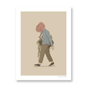 Flower man - illustrazione di Maniaco D'amore, Stampa Fine Art