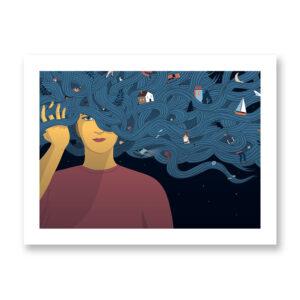Mindful - illustrazione di Federica Bordoni, Stampa Fine Art