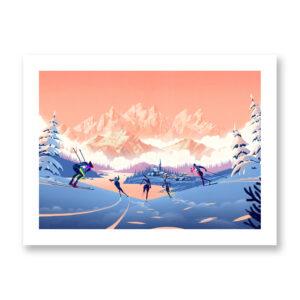Trentino Winter - illustrazione di Francesco Bongiorni, Stampa Fine Art